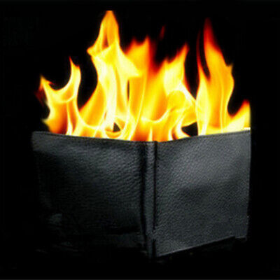 Magic Trick Fire Flaming Wallet Leather Magician Stage Show Purse Prop Gifts