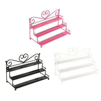Heart 3 Tiers Metal Nail Polish Shelf Rack Cosmetic Varnish Display Stand Holder
