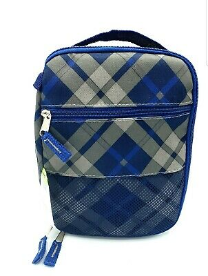 Insulated Lunch Bag Cold/Hot Cooler Canvas Tote Blue Gray Plaid Free Shipping