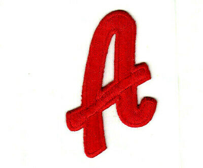 """Red Script  2"""" Letter """"A""""  Iron On Embroidered Patch"""