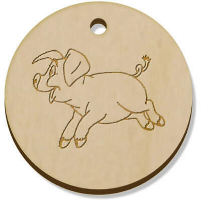 11 x 34mm 'Happy Piglet' Wooden Pendants / Charms (PN00000189)