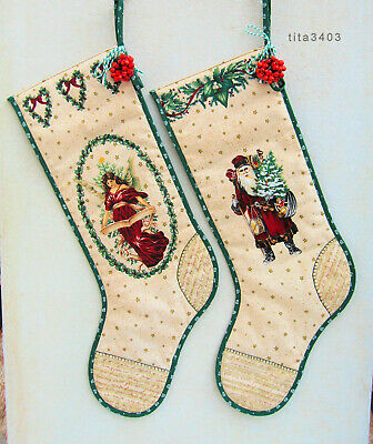 2 x Kaminstiefel * VINTAGE * Historical Christmas Stocking _ VICTORIAN-STYLE _ A
