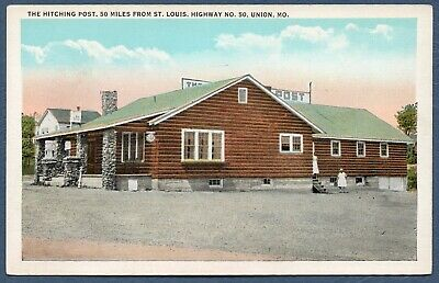 MO UNION Missouri THE HITCHING POST Restaurant Route 50 Printed Postcard UNUSED