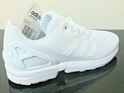Adidas Zx Flux Girls Womens Shoes Trainers Uk Size 4.5 - 5.5 S81421 Triple White