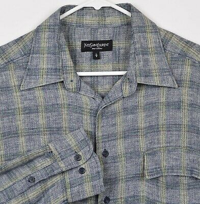 Yves Saint Laurent Men's Sz Large Linen Blend Gray Yellow Geometric Plaid Shirt