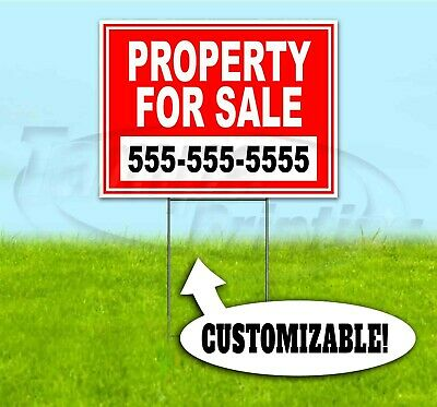 PROPERTY FOR SALE CUSTOM PHONE 18x24 Yard Sign WITH STAKE Corrugated Bandit