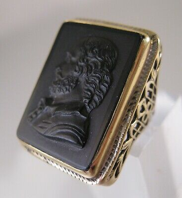 1900's Antique Edwardian Onyx Shakespeare Cameo Ring Vermeil Sterling Silver Sz5