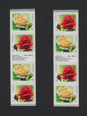 ROSES = Coil Type I & II - 2 GUTTER Strips of 4 w/ insc Canada 2014 #2729i MNHVF