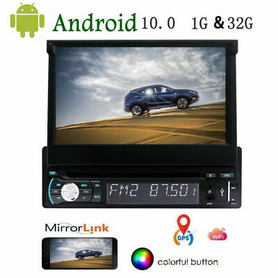 "7"" Single 1 DIN Android Car CD DVD Player GPS Nav BT HD Touch Stereo Radio"