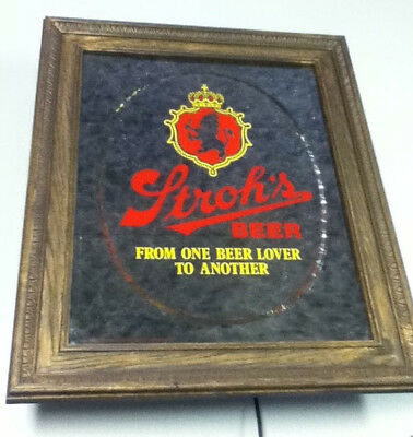 Stroh's beer sign bar mirror light brewery vintage lighted bar in motion old JU6