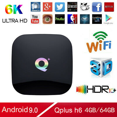 Q plus 4+64G Android 9.0 Pie 6K 3D Quad Core Smart TV Box WIFI Media Streamer US