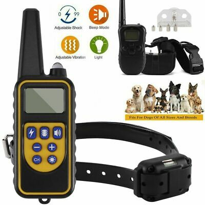 Remote Dog Shock Training Collar Electric Waterproof Rechargeable 328/875 Yards