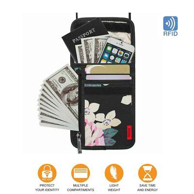 RFID Blocking Neck Wallet Bag Pouch Travel Security Passport ID Card Holder Bag