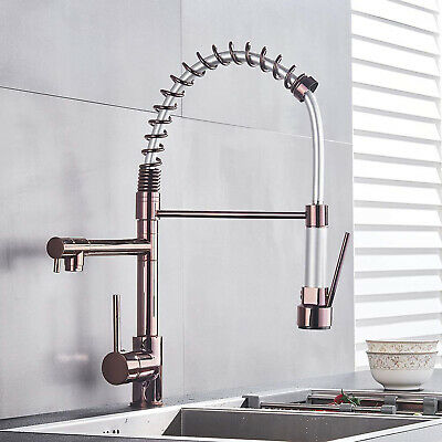 Faucet kitchen Sink Tap Copper Rose Gold Multi-function Spring Single Hole Mixer