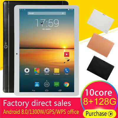 """10.1"""" Inch Tablet PC Android 8.0 8G+128GB 10 Core WIFI Dual SIM Camera Phablet"""