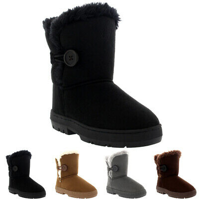 Kids Girls Button Winter Fur Lined Snow Rain Cosy Casual Warm Boots UK 9-6