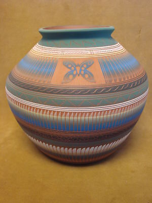Native American Indian Hand Etched Pot by Robinson & Valencia