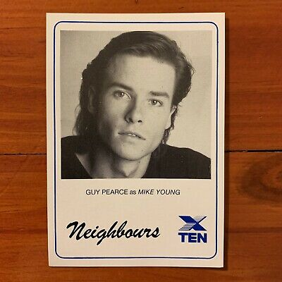 Neighbours vintage TV Fan Card 1980s Guy Pearce  Mike Young 1988 80s Kylie