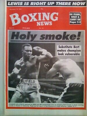 BOXING NEWS 29 Nov 1991 - VINTAGE -  HOLYFIELD /COOPER - VERY FINE CONDITION