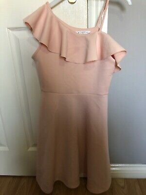 Girls Age 12 Years Nude Pink Skater Frill Dress From Matalan