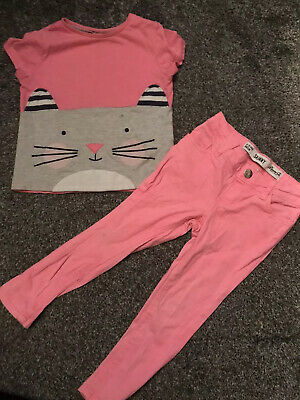 Bright Pink Cat Girls Cute Outfit Top And Jeans Age 2-3 Years
