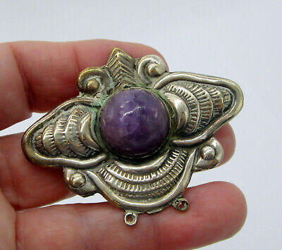 Estate Vintage Large Taxco Mexico Sterling Silver Cabochon Amethyst Bee Brooch