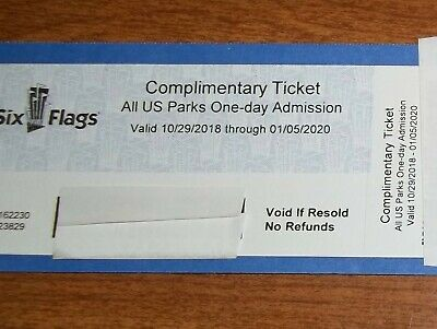 2 Six Flags tickets All US Parks One-day Admission ex. 01/05/2020