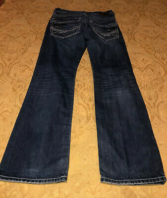 BKE Buckle Carter Straight Distressed Wash Medium Blue Jeans 26R 26 X 31