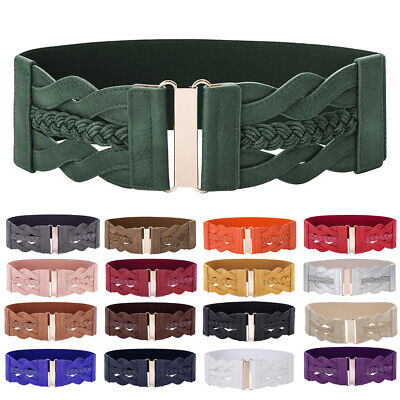 Fashion Women Girl Wide Elastic Waist Belt Buckle Faux Leather Braided Waistband