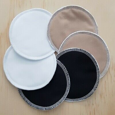 Reusable Wasable Nursing Pads, 3 Pairs, white, Beige, Black