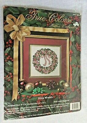 True Colors Christmas Holly Wreath Ribbon Embroidery Kit SRK70014 Open Complete