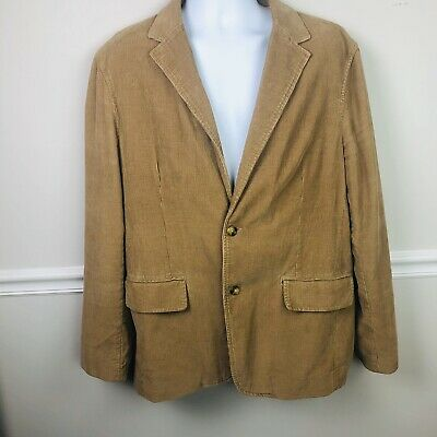J CREW Mens Large Brown Corduroy Sports Coat Jacket Blazer Vintage Cord 2 Button