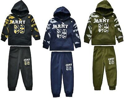 Boys Army Tracksuits Jogging Suits Camouflage Hoodie Top & Joggers Ages 2-12 Yrs