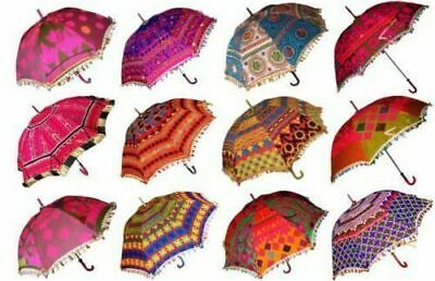 5 Pcs Indian Decorative Hand Made Embroidered Parasol Vintage Sun Shade Umbrella