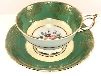 Paragon Fine Bone China Teacup And Saucer Green With Gold Gilding And Flowers