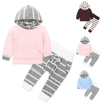Childrens Print Striped Cotton Long Sleeve Hoodie Tops High Waist Pants Suit