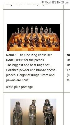Pewter  / Bronze Lord of the Rings Chess set 'The One Ring'