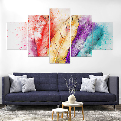 Colorful Feather Abstract Canvas Print Painting Framed Home Decor Wall Art Pic