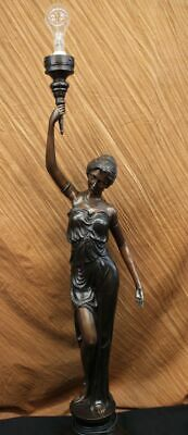 """Signed """"Moreau"""" gorgeous bronze statue lamp, with glass, absolutely stunning"""