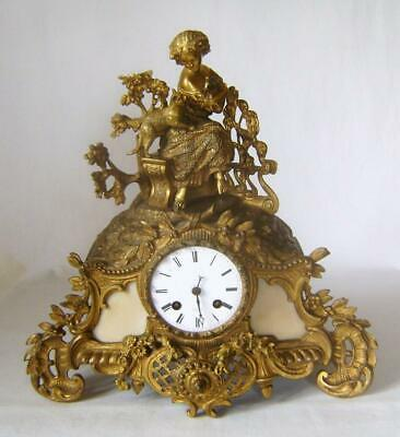 French Silk Suspension Ormolu Clock: Girl with Cat & Rabbit Figure in Gilt Brass