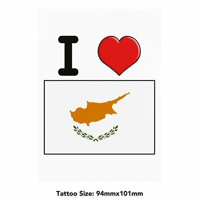 Large 'I Love Cyprus' Temporary Tattoo (TO00000719)