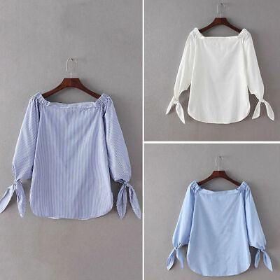 Stylish Womens Boho Striped Off Shoulder Blouse Summer Loose Casual Tops Shirt