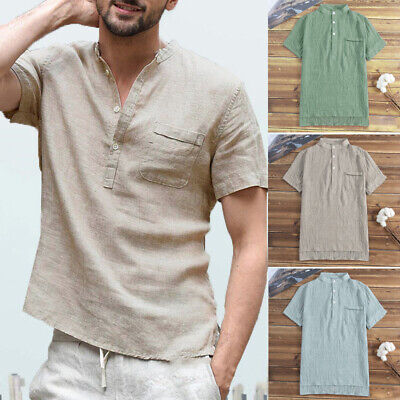 Mens Shirts Tops Standing Collar Casual Summer Vest Blouse V Neck Loose T-shirt