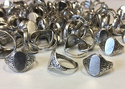 Huge Lot 147 Imitation Rhodium Plated Adustable Ring Blanks With Oval Pad
