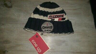 New One Up Designer super cute navy stripe hat 6months Rrp£18.99 BNWT 100%cotton