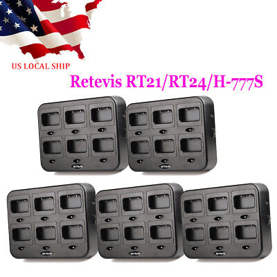 2X Retevis 6-Way Multi Unit Rapid Gang Charger for Retevis RT21 RT24 Radios US