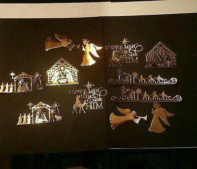 Gold nativity group die cuts for cards or scrapbook 12 pieces