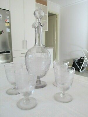 Set Antique Etched Decanter and Four Glasses Beautiful