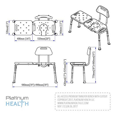 Bath Transfer Bench w Cutout Deluxe All-Access Tub & Shower Transfers Platinum