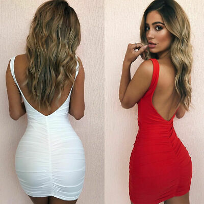 Womens Sleeveless Dress Backless V-neck Blouse Elegant Sexy Party Bodycon Dress